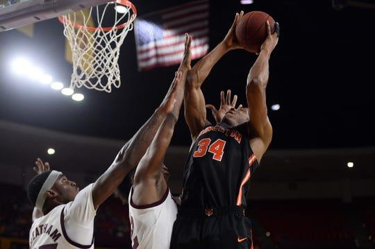 Princeton Tigers center Richmond Aririguzoh (34) puts up a layup against the Arizona State Sun Devils last season.