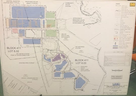 A schematic of the proposed solar farm that would be constructed on the former Ciba-Geigy property in Toms River. The land is now owned by BASF, which will lease a portion to Toms River Merchant Solar, LLC.