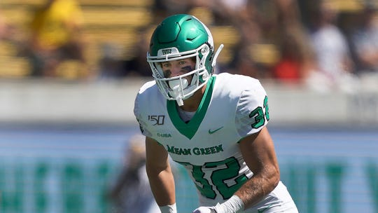 North Texas wide receiver Michael Lawrence (32) lines up against the California during an NCAA football game Saturday, Sept. 14, 2019, in Berkeley, Calif.