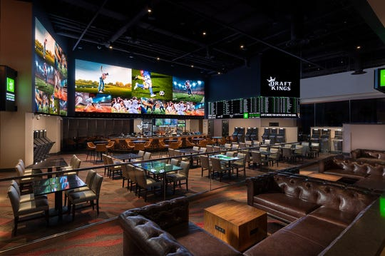 The DraftKings Sportsbook at del Lago, a 6,000 square-foot space with betting kiosks and LED video screens.