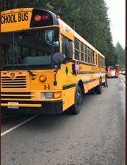 A North Mason School bus was struck by a ladder that fell off a pickup truck Wednesday, Sept. 18, 2019, on Highway 3 in Belfair. No students were on board. The driver had minor injuries.