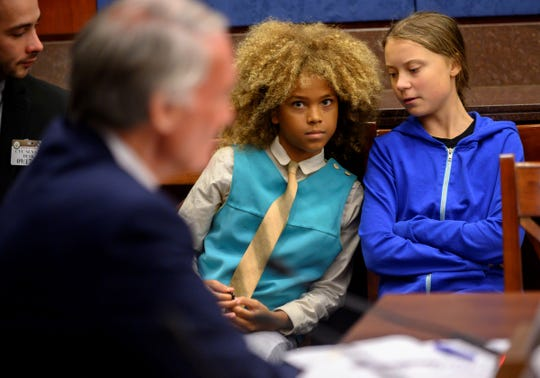 Levi Draheim speaks to Congress alongside activist Greta Thunberg