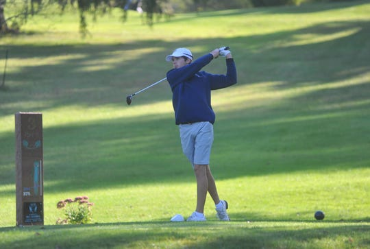 Galion's Matt McMullen tees off on the 3rd hole at Valley View.
