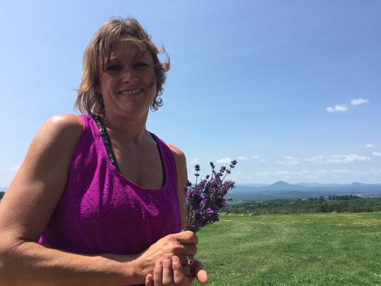 Michele Judd holds the primary crop at Lavender Essentials of Vermont in Derby Line on July 26, 2019.