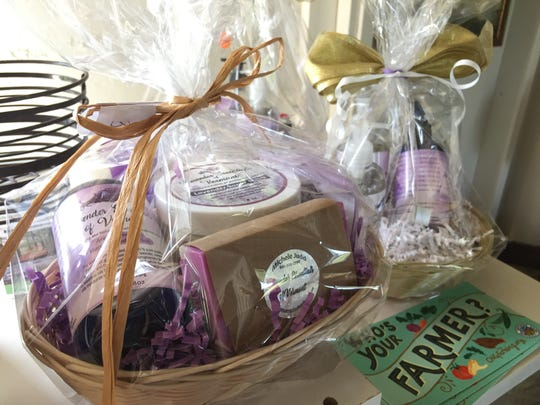 A basket of lavender-related items available for sale at Lavender Essentials of Vermont in Derby Line on July 26, 2019.