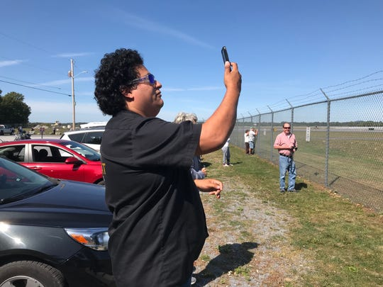 Michael Valdez, a U.S. Marine veteran who moved to Vermont from Texas, narrates on Facebook the arrival of the first F-35 jets at Burlington International Airport on Thursday, Sept. 19.