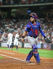 Sep 17, 2019; Houston, TX, USA; Texas Rangers catcher Jose Trevino (56) smiles after chasing Houston Astros right fielder Josh Reddick (not pictured) foul ball in the fifth inning at Minute Maid Park. Mandatory Credit: Thomas B. Shea-USA TODAY Sports