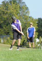 Unioto golfer Ty Schobelock chips a ball during the Scioto Valley Conference No. 7 and No. 8 golf matches on Thursday September 19.