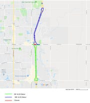 This Iowa Department of Transportation map shows the detour route for traffic that circumvents this weekend's closure on East First Street in Ankeny.