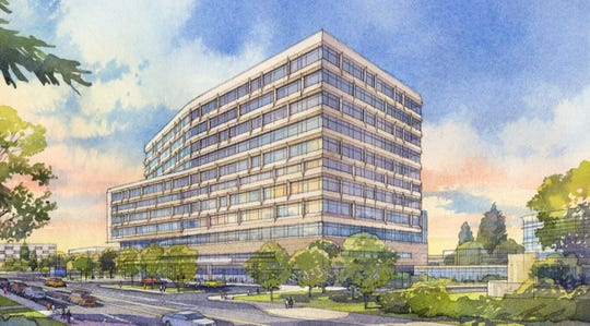 An artist rendering of the new 12-story, $920 million hospital at Michigan Medicine, the medical arm of the University of Michigan