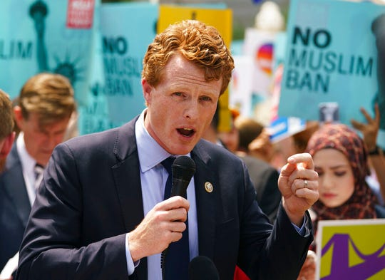 In this June 26, 2018, file photo, Rep. Joe Kennedy, D-Mass., speaks in front of the Supreme Court in Washington.