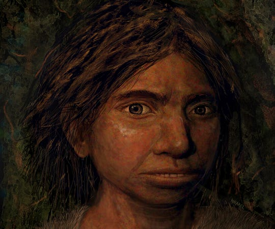 This portrait of a juvenile female Denisovan is based on a skeletal profile reconstructed from ancient DNA methylation maps.