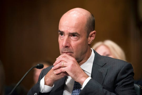 Secretary of Labor nominee Eugene Scalia listens during his nomination hearing on Capitol Hill, in Washington, Thursday, Sept. 19, 2019.
