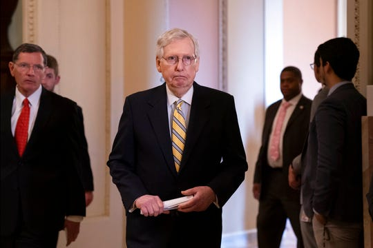 Senate Majority Leader Mitch McConnell, R-Ky., arrives to speak to reporters at the Capitol in Washington, Tuesday, Sept. 17, 2019. A Senate panel on Thursday approved $250 million to help states beef up their election systems after McConnell came under criticism from Democrats for impeding separate election security legislation.