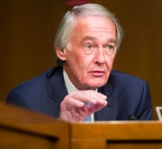 In this March 27, 2019 file photo, Sen. Ed Markey, D-Mass., speaks during a Senate Transportation subcommittee on Capitol Hill in Washington.