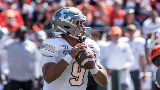 Eastern Michigan quarterback Mike Glass III threw for 316 yards and three touchdowns with no interceptions in last week's 34-31 victory over Illinois.