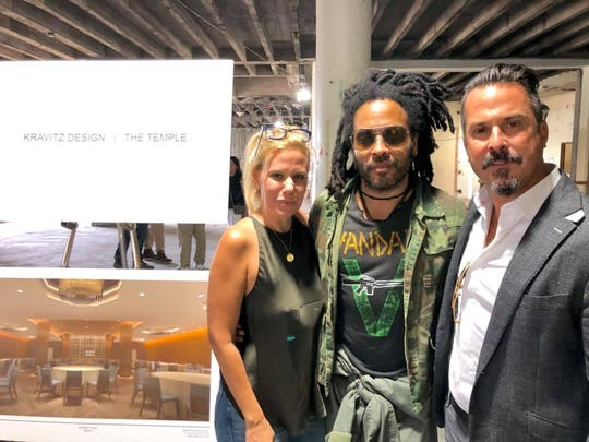 , Ellena Gatzaros, Lenny Kravitz and Christos Moisides at the future site of the Temple Detroit Hotel.