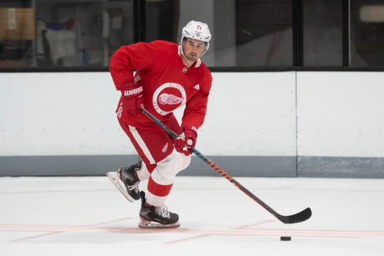 """Red Wings forward Dylan Larkin, shown here during training camp last week in Traverse City, says he's had a """"nagging"""" foot injury on and off this offseason, but says he isn't worried about missing too much time."""
