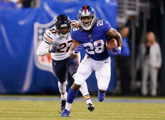 Running back Paul Perkins (28) was claimed off waivers by the Lions earlier this week.