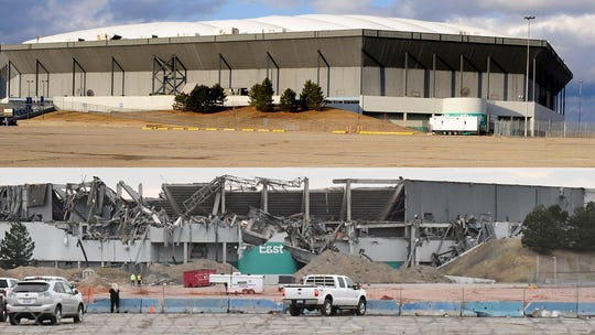 A side-by-side comparison of the vacant Pontiac Silverdome, top, in 2012 and the stadium after implosion in 2017.