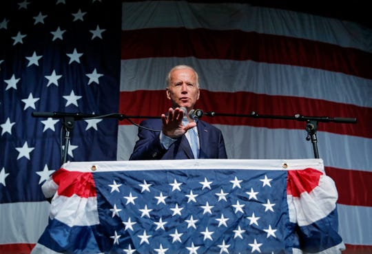 In this Aug. 9, 2019 photo, former Vice President and Democratic presidential candidate Joe Biden speaks at the Iowa Democratic Wing Ding at the Surf Ballroom, in Clear Lake, Iowa.
