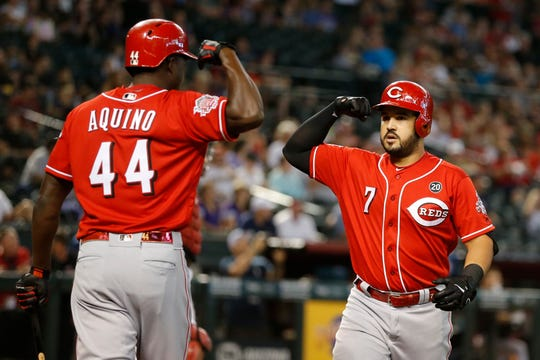 Former Tiger Eugenio Suarez (7) has belted 48 home runs and counting this season for the Reds.