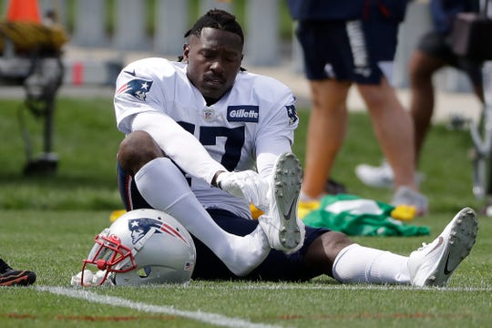 Patriots wide receiver Antonio Brown declined to talk about the civil case that was recently filed against him.