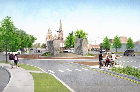 An artist rendering of how a new roundabout on North Main Street in Elmira will appear, as viewed looking north.