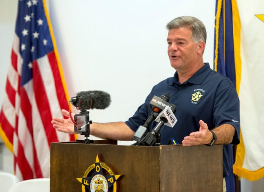 Fraternal Order of Police lodge 73 President DJ Thompson addresses media after a after a vote of no confidence for EPD Chief Billy Bolin Wednesday by FOP members on  Thursday afternoon, Sept. 19, 2019.