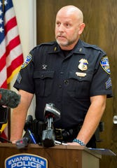 Evansville Police Department spokesman Sgt. Jason Cullum speaks on behalf of EPD Chief Billy Bolin after a vote of no confidence Wednesday by local Fraternal Order of Police lodge 73 on Thursday afternoon, Sept. 19, 2019.