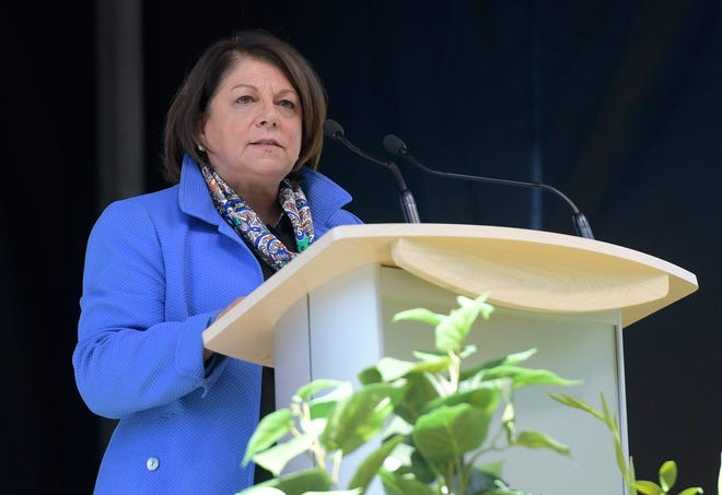 New Colorado State University President Joyce McConnell speaks during the annual President's Fall Address on the Colorado State University campus on Thursday, Sept. 19, 2019.