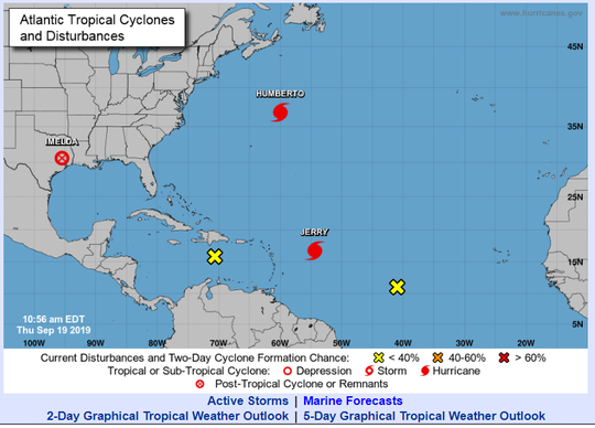 A look at the tropical Atlantic at 11 a.m. on Thursday, Sept. 19, 2019