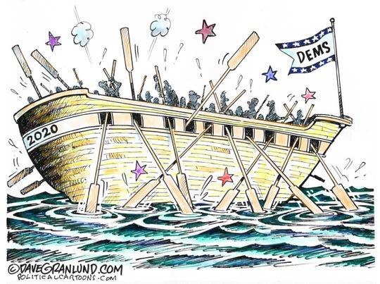 Democrats' oars clash.