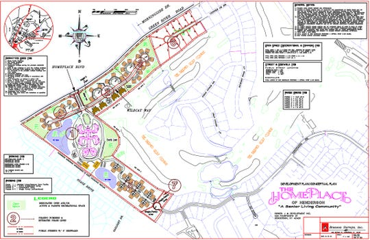 The development plan for The 40 or so acres off of Green River Road where Homeplace of Henderson will be built.