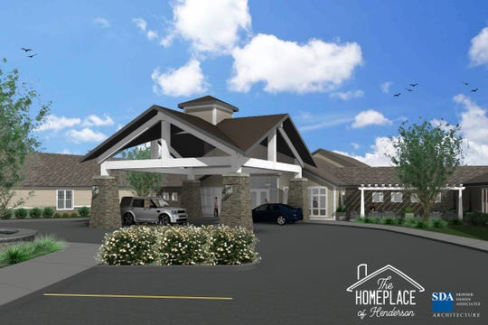 A rendering of the front entrance for The Homeplace of Henderson.