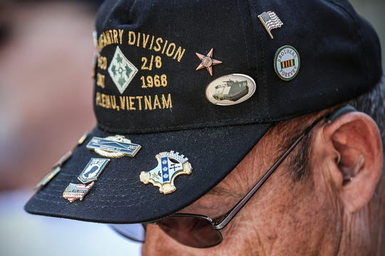 A group of Vietnam War veterans from B Company, 2nd Battalion, 8th Infantry Regiment of the 4th Infantry Division toured Indianapolis' war monuments and memorials together, Thursday, Sept. 19, 2019.