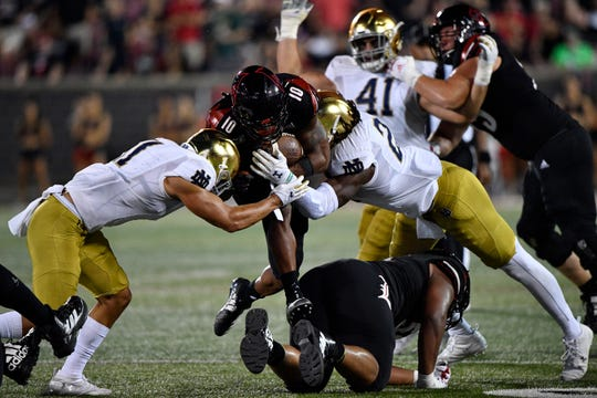 Louisville had two long scoring drives early on before the Irish defense stiffened in Notre Dame's first road test of 2019.