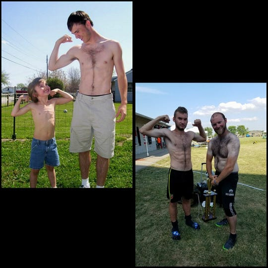 Zack Bell (right) and Dean Suddarth (right) recreate a photo the two took when Bell was 8 years old.