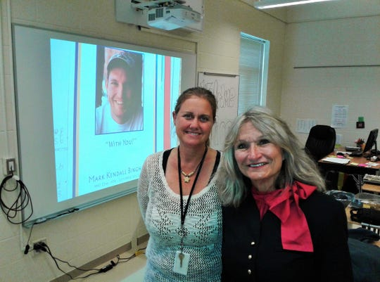 Alice Hoagland (right) spoke to the North Central Junior High classes of instructor Alisa Meggitt (left) Friday about her late son Mark, one of the heroes of Flight 93 during the September attacks of 2001.