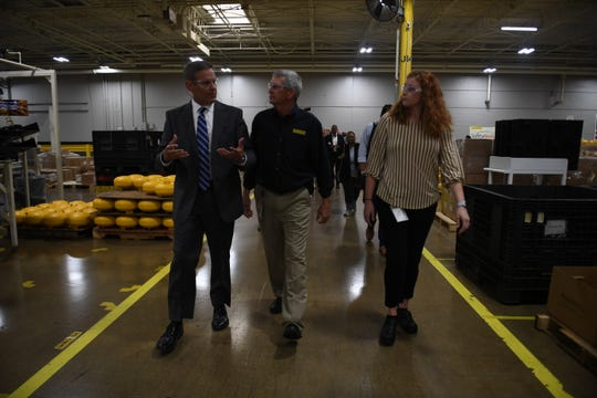 Gov. Bill Lee, plant manager Don Tucker and HR manager Erica Lasley tour Stanley Black & Decker in Jackson on Wednesday, Sept. 18, 2019.