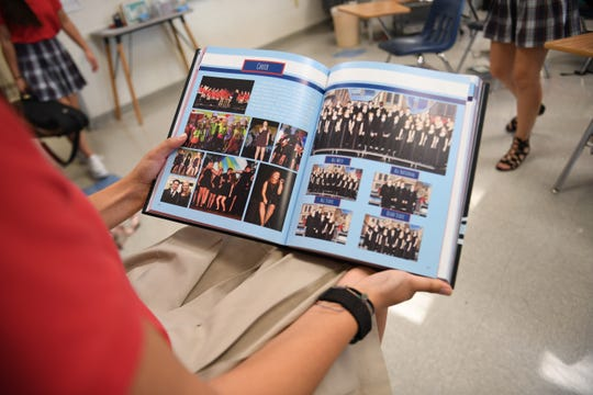 Mahajan shows off her favorite section of the yearbook she created of 2018. Mahajan is a semifinalist in the National Merit Scholarship program. Mahajan is a senior at the University School of Jackson and is involved in extracurricular activities, such as being the Editor in Chief of the school yearbook.