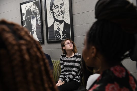 Jackson Central-Merry Early College High sophomore Autumn McDonald listens during a meeting with Gov. Bill Lee at the school on Wednesday.