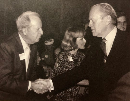 1982 World's Fair Commissioner General Dortch Oldham greeted former presidents, including Gerald Ford, during fair events.