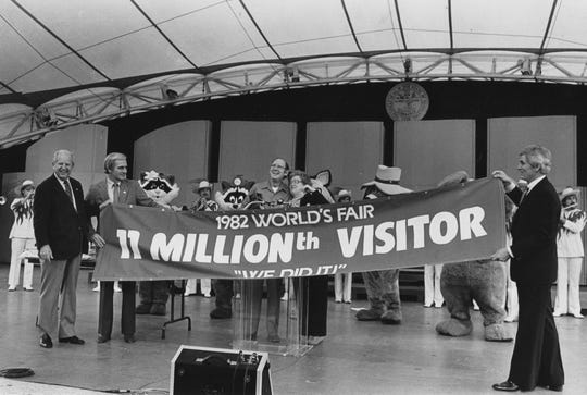 """In an Oct. 30, 1982, photograph, Charles and Helen Hutchinson of Cincinnati, Ohio, are feted as the 11 millionth visitors to the World's Fair. Helping celebrate the occasion are World's Fair Commissioner General Dortch Oldham, left, Knoxville International Energy Exposition President S.H. """"Bo"""" Roberts Jr., and World's Fair Board of Directors Chairman Jake Butcher."""