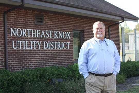 Gregg Morgan outside the newer Northeast Knox Utility District building that was built in 2008. Morgan has worked for the utility company for 40 years.
