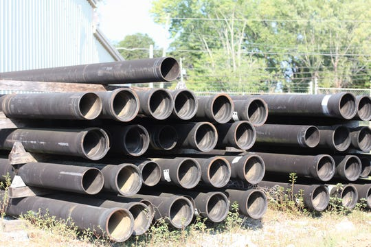 Iron pipes similar to the ones Gregg Morgan used to help lay in his days as a laborer at Northeast Knox Utility.