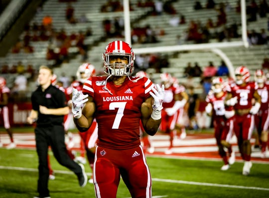 ULL LB Ferrod Gardner comes onto the field for the 2nd Half of the football game between ULL and Texas Southern at Cajun Field in Lafayette, Louisiana on September 14, 2019.