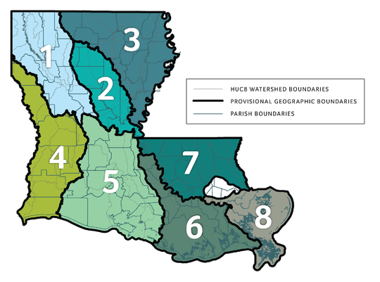 A map of regional watershed districts that will be used the Louisiana Watershed Initiative to guide the spending of a $1.2 billion federal grant.