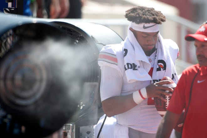 Ohio State quarterback Justin Fields should have plenty of time to cool off if his Buckeyes take care of business early as expected against the Miami RedHawks