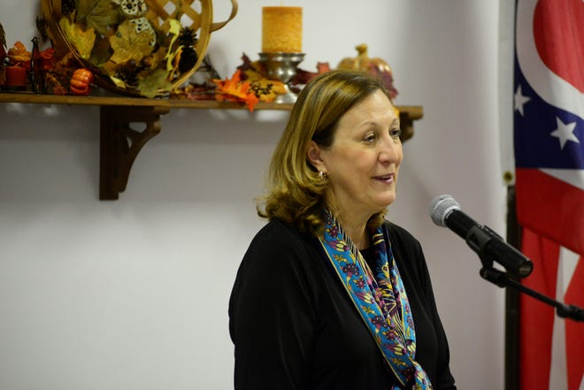 Jennifer Brunner, who is running for the Ohio Supreme Court, spoke Thursday at the Richland County Democratic Party's Annual Fall Dinner.